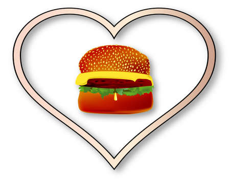 beefburger: A large beefburger with cheese inset into an isolated pink heart.