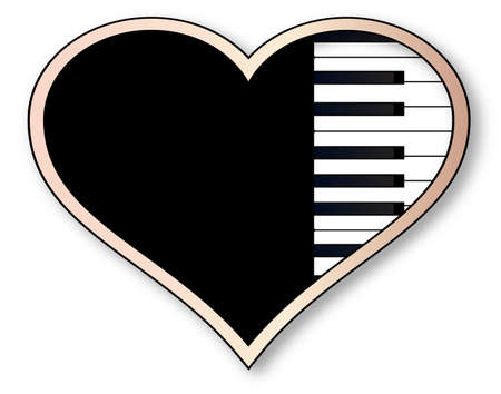 forte: A piano keyboard inset into an isolated pink heart. Illustration