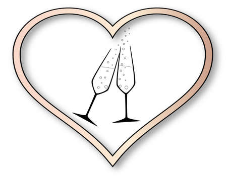 Two charged champagne glasses with bubbles inset into a isolated pink heart. Vector