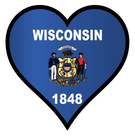 wisconsin flag: Wisconsin state flag within a heart all over a white background