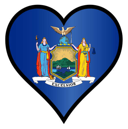 new york state: New York state flag within a heart all over a white background Illustration