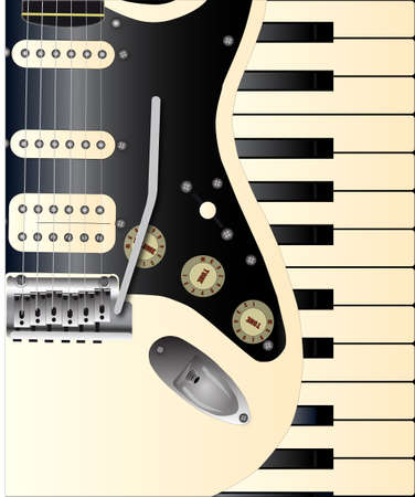 upright piano: A solid body electric guitar and a set of old piano keys Illustration