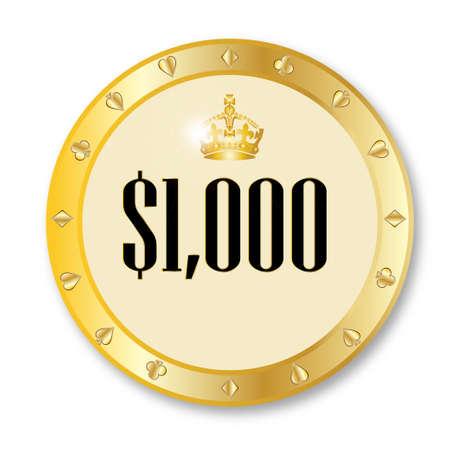 gambling chip: Un oro 1.000 d�lares ficha de juego sobre un fondo blanco Vectores