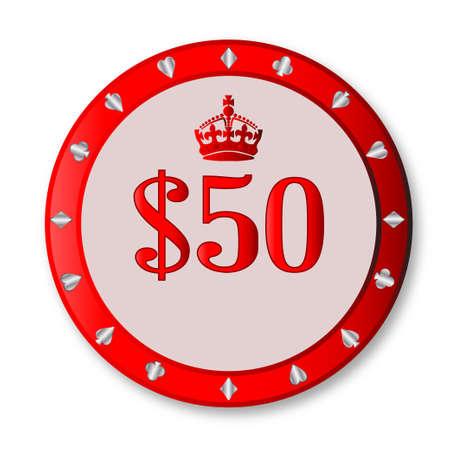 gambling chip: Un chip de juegos de azar de cincuenta d�lares roja sobre un fondo blanco