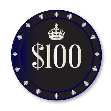 gambling chip: A black one hundred dollar gambling chip over a white background Illustration