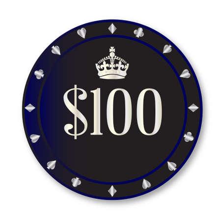 gambling chip: A una ficha de juego de cien d�lares negro sobre un fondo blanco