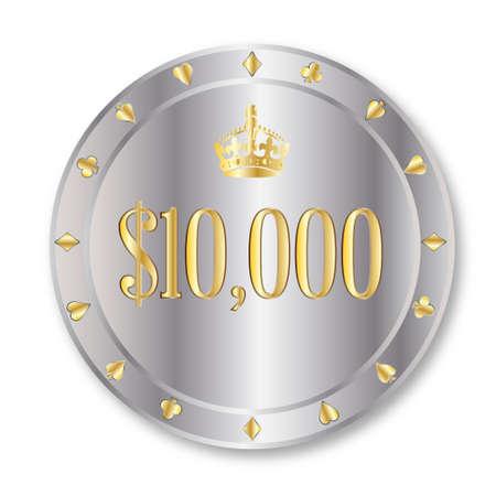 gambling chip: Un platino ficha de juego de diez mil d�lares en un fondo blanco