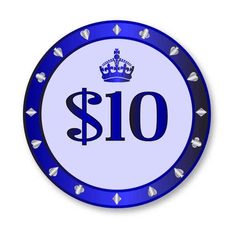 gambling chip: Un azul ficha de juego de diez d�lares en un fondo blanco
