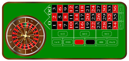 roulette table: A typical American roulette table layout over a white background
