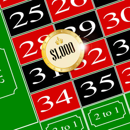 american roulette: A chip placed on a roulette table