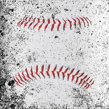 Red Baseball Stitches beneath a grunge layer
