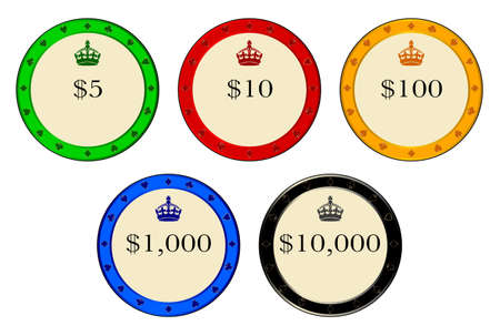 priced: A set of priced casino chips over a white background