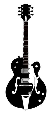 A typical country and Western Guitar in black and white over a white background