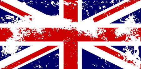 grunge union jack: The British Union Jack flag with a heavy grunge effect. Illustration