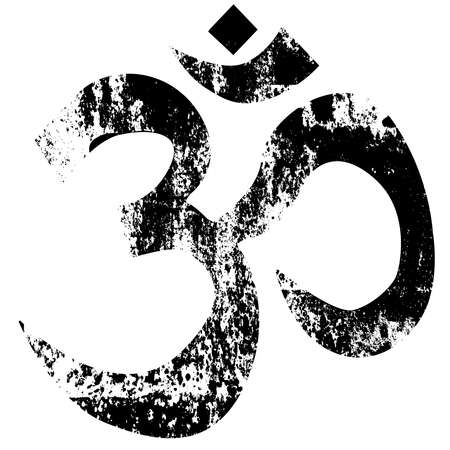 The symbol for OM as used by eastern cultures in a grunge rubber stamp. Vector