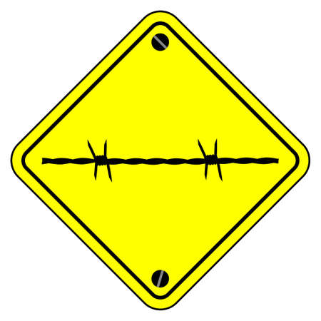 A typical barbed wire warning sign over a white background