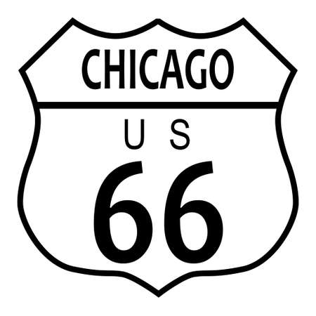 Route 66 traffic sign over a white background and the city name Chicago Vector