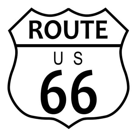 Route 66 traffic sign over a white background and the legend ROUTE US 66 Illustration