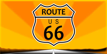 desert road: Route sixty six highway sign over a long desert road background Illustration