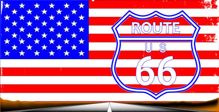 highway sign: Route sixty six highway sign over a stars and stripes flag background