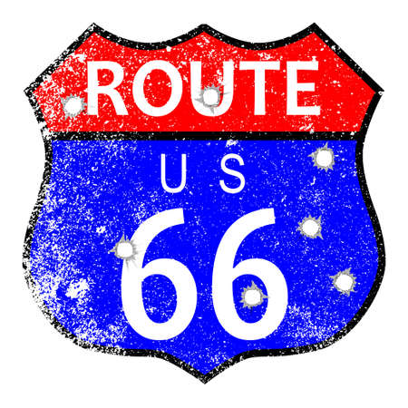 main street: Route 66 traffic sign with grunge and bullet holes Illustration
