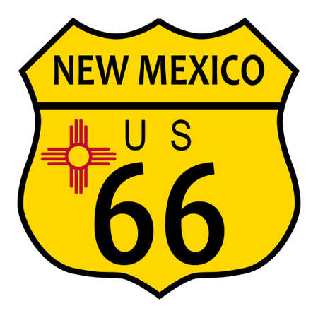 main street: Route 66 traffic sign over a white background and the state name New Mexico and flag