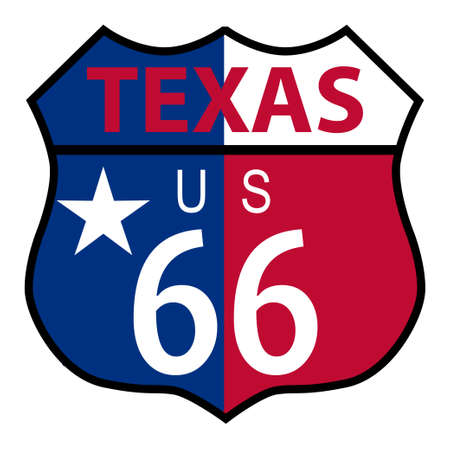 Route 66 traffic sign over a white background and the state name Texas with flag Vector