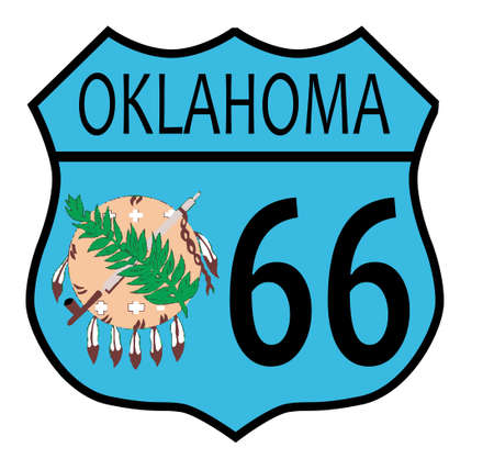 main street: Route 66 traffic sign over a white background and the state name Oklahoma with flag Illustration