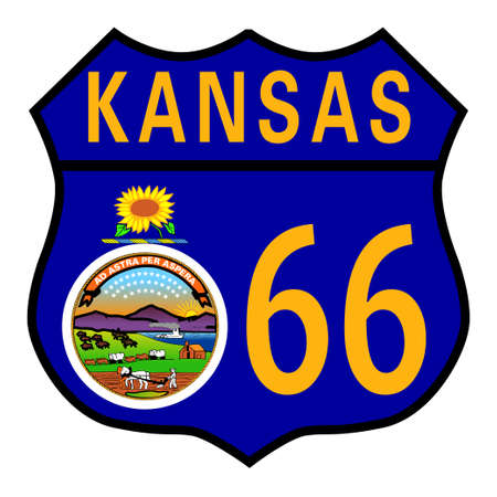 main street: Route 66 traffic sign over a white background and the state name Kansas with flag
