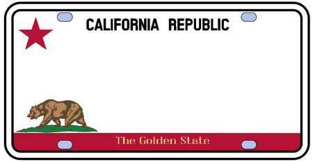 California de la matrícula en los colores de la bandera del estado con los íconos sobre un fondo blanco