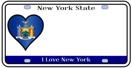 New York state license plate in the colors of the state flag with the flag icons over a white background Vector