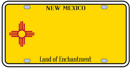 license plate: New Mexico state license plate in the colors of the state flag with the flag icons over a white background