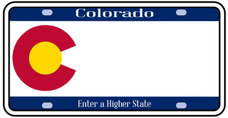 license plate: Colorado state license plate in the colors of the state flag with the flag icons over a white background