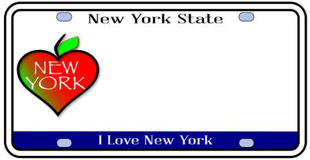 license plate: New York state license plate in the colors of the state flag with icons over a white background