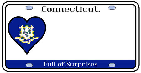 license plate: Connecticut state license plate in the colors of the state flag with icons over a white background Illustration