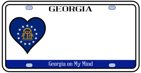 license plate: Georgia state license plate in the colors of the state flag with icons over a white background