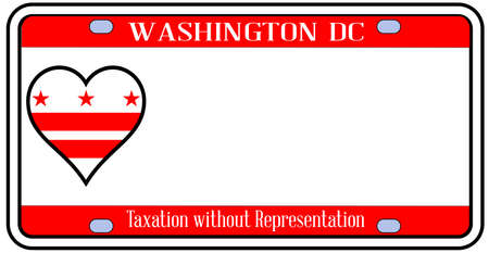 license plate: Washington DC state license plate in the colors of the state flag with icons over a white background