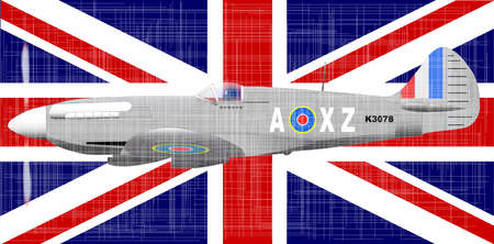 grunge union jack: The British Union Jack flag and fighter aircraft with a heavy grunge effect.