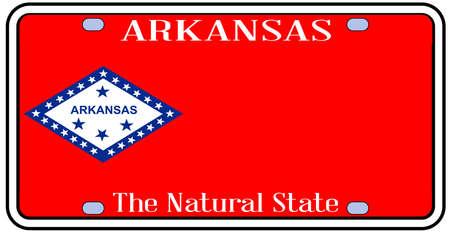 Arkansas state kenteken in de kleuren van de vlag staat met pictogrammen op een witte achtergrond
