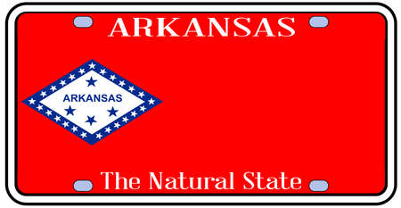 license plate: Arkansas state license plate in the colors of the state flag with icons over a white background Illustration
