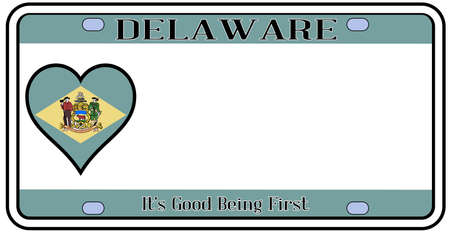 license plate: Delaware state license plate in the colors of the state flag with icons over a white background