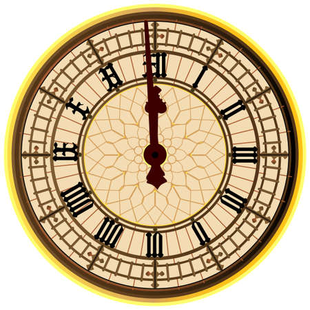 12시을 보여주는 런던 아이콘 빅 벤의 시계 얼굴
