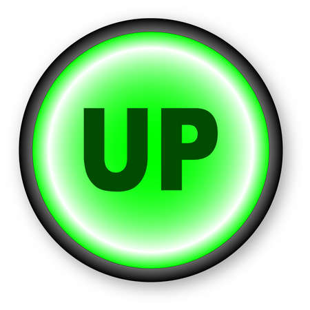 push button: A push button with the text up over a white background. Illustration