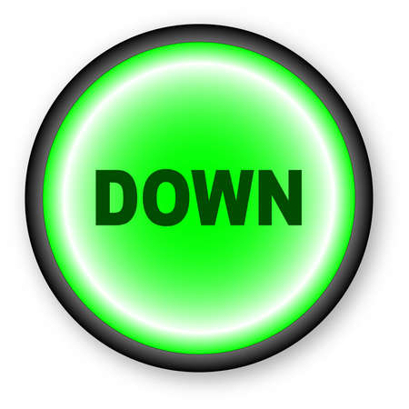 push button: A push button with the text DOWN over a white background. Illustration
