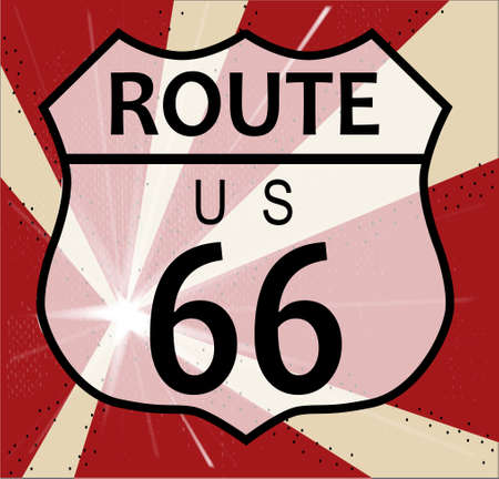 Route 66 traffic sign over a splash background and the legend ROUTE US 66 Vector