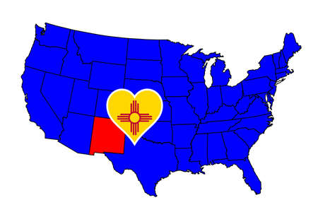 inset: New Mexico state outline and icon inset set into a map of The United States of America Illustration