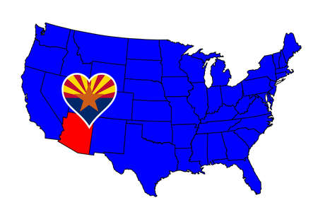 inset: Arizona state outline and icon inset set into a map of The United States of America