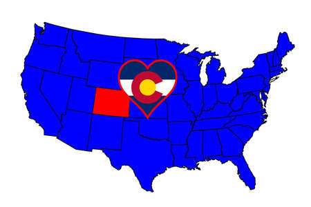 inset: Colorado state outline and icon inset set into a map of The United States of America Illustration