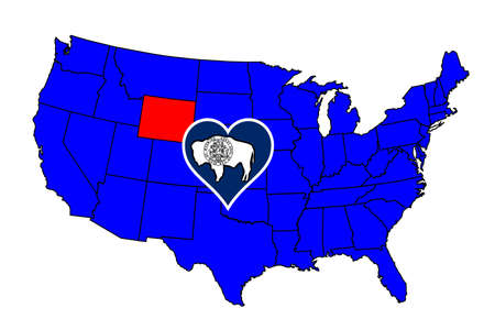 Outline Of The State Of Wyoming Isolated With Flag Inset Royalty - Us map wyoming