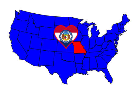 inset: Missouri state outline and icon inset set into a map of The United States of America Illustration
